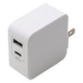 急速AC充電器4.8A USB1,C1ポート自動判別